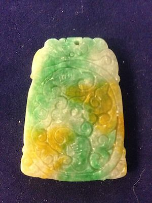 Vintage Chinese Carved Tri-colour Jade Pendant. 4.5cm