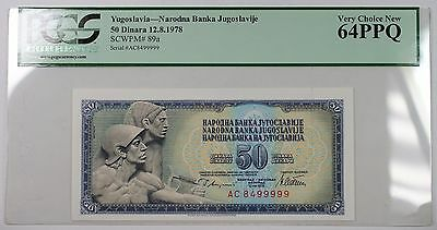 12.8.1978 Yugoslavia 50 Dinara Bank Note SCWPM# 89a PCGS 64 PPQ Very Choice New