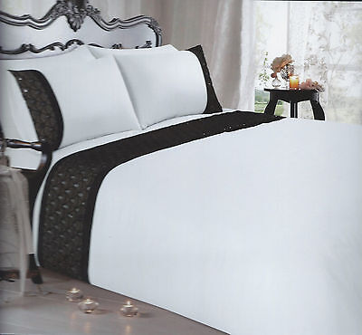 Black White Sequin And Lace Embellished Double Or King Duvet Cover Set Alexandra