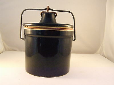 Vintage Brown Stoneware Cheese Crock with Wire Bale Lid