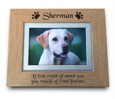 Personalised ENGRAVED Solid Oak Wood Pet Memorial Photo Picture Frame Dog/ Cat