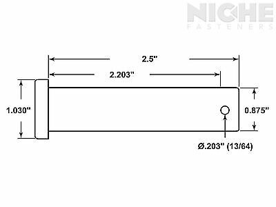 Clevis Pin 7/8 x 2-1/2 Low Carbon Steel (10 Pieces)