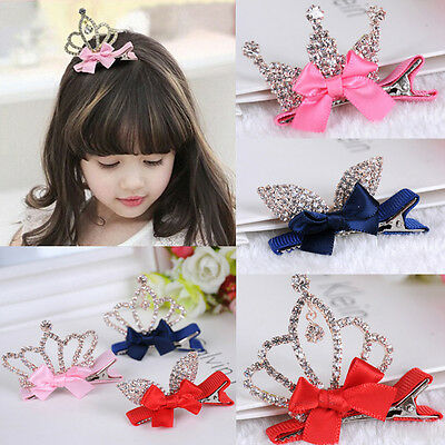 Crystal Crown Baby Kids Girls Children Shiny Princess Rabbit Ears Hair Clip Top