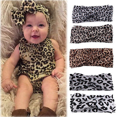Lovely Baby Kids Girls Leopard Print Floral Bow Knot Headband Stretch Hair Band