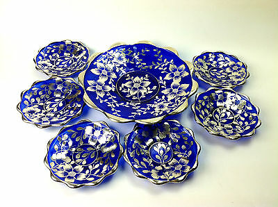 Stunning Antique Cobalt Blue Silver Overlay Plate Set