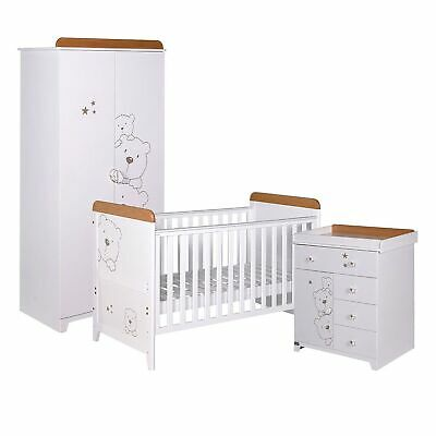 Tutti Bambini 3 Bears 3 Piece Cot Bed/Wardrobe/Top Changer Room Set Beech/White