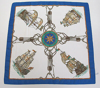 VINTAGE 1980s LIZ SINCLAIR SCARF COLONIAL SHIPS MADE IN ITALY POLY COMPASS