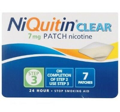 Niquitin CQ Clear Stop Smoking Patch 7mg Step 3 Prevents Craving For 24 Hours UK
