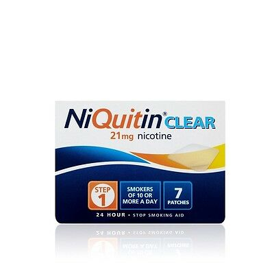 Niquitin CQ Clear Stop Smoking Patch 21mg Step1 x7 Prevents Craving,lasting 24Hr