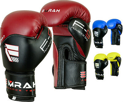 EMRAH Leather Boxing Gloves Fight Punch Bag UFC Muay Thai Grappling Kick MMA R7H