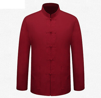 Brand New Chinese Traditional Men's Cotton Embroider Kung Fu Jackets Coat S-3XL