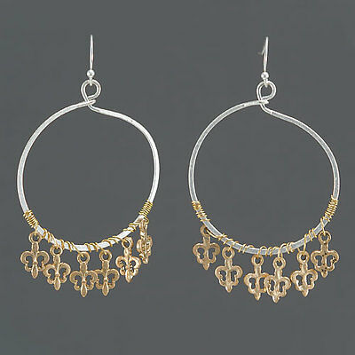 Silver Gold Hoop Style Drop Dangle New Orleans Fleur De Lis Tel Earrings