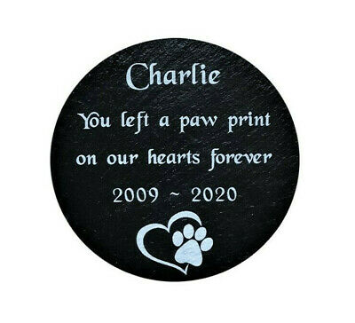 Personalised Engraved Pet Memorial Round Slate Grave Marker Headstone Plaque Dog