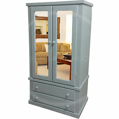 Hand Made Dewsbury Furniture Double Mirrored Wardrobe Grey (Assembled)