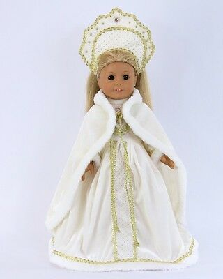 """Doll Clothes 18"""" Dress White Russian Headpiece Fits American Girl Doll"""