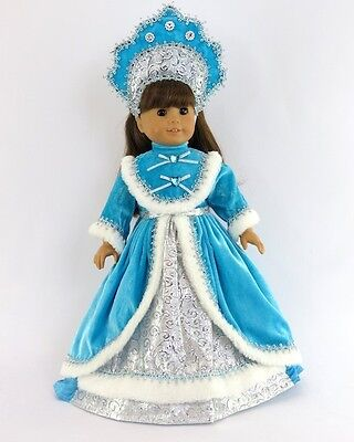 """Doll Clothes 18"""" Dress Teal Russian Headpiece Fits American Girl Dolls"""