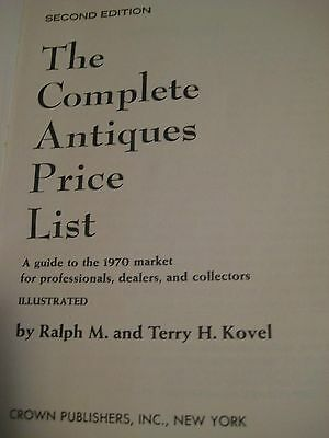 Original Vintage 1969 2nd Edition KOVEL COMPLETE ANTIQUES PRICE LIST 502 pgs