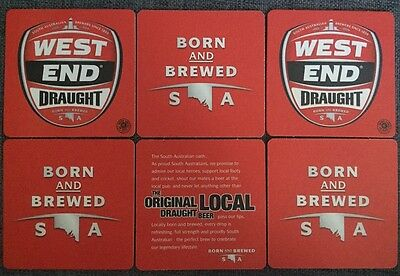 6 x WEST END DRAUGHT BEER COASTER NEW