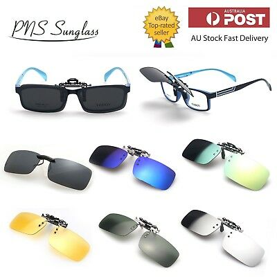 New Polarized Clip On Flap Up Mirror Sunglasses UV 400 Protection Mens Womens