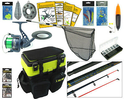 Complete Sea Fishing Kit Sea Fishing Rod & Reel Set + Seat tackle Box Rucksack