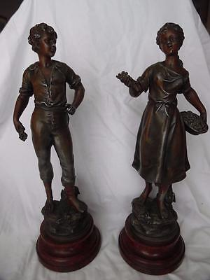 Pair of Moreau bronzed spelter figurines signed and stamped