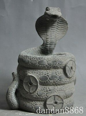 """6""""Chinese bronze fengshui zodiac snake wealth Coin statue brush pot pencil vase"""