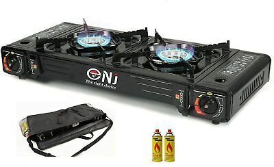 Camping Gas Stove 2 Double Burner Portable Cooker Butane BBQ Barbeque & Bag UK