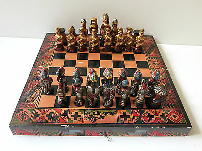 Hand Painted Ceramic Chess Pieces With Wooden Foldable Board Chess Set