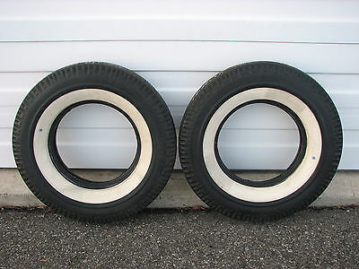 2 50's-60's Vintage NOS 7.50-14 Goodyear Blue Streak Wide White Wall Tires Dot