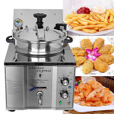 16L Commercial Pressure Fryer 50-200℃ Kitchen Cooking 4.4lbs Chicken Meat Vege