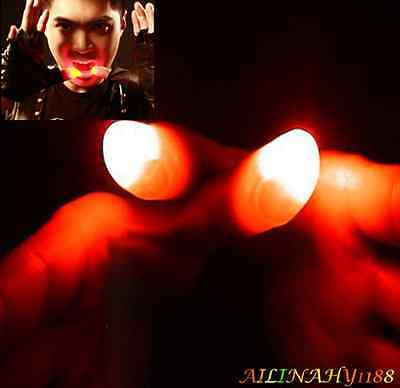 2PCS Light Fake Thumbs Fingers Magic Trick Thumbs Tips Magic Night Toy Red HY