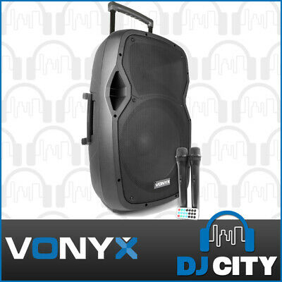 Vonyx 15-Inch Rechargeable Battery Powered PA System 800W w/ Wireless Mics & BT