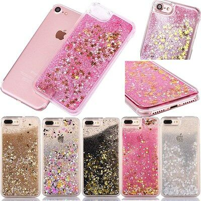 New Colors Stars Liquid Glitter 3D Bling Clear Case Cover For iPhone 8 7 Plus X