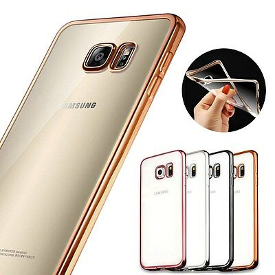 Shockproof Samsung Galaxy Clear TPU Soft Case Cover Electroplate Colorful Bumper