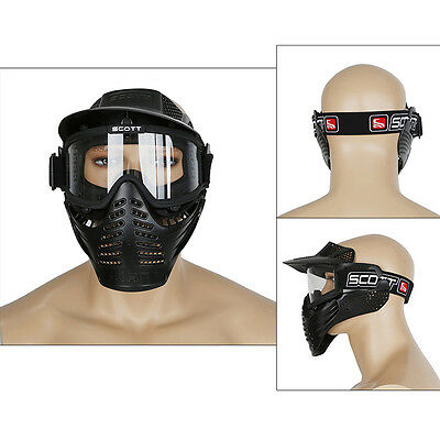 Black Tactical Airsoft Full Face Mask Safety Paintball Goggles Protection CS