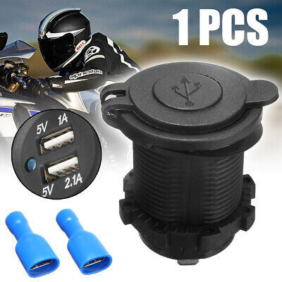 Car Motorcycle Dual USB Port Charger Power Socket Outlet Waterproof 3.1A New