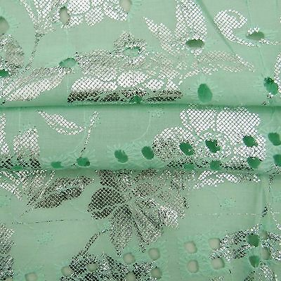 "Green Cotton Fabric 44"" Wide Rubber Printed Opaque Designer Sewing By The Yard"