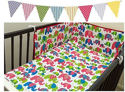 Baby Toddler 4 Piece Bedding Set - To Fit Cot - DUVET COVER BUMPER PILLOWCASE