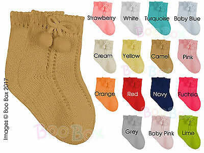 Baby Boys/Girls + Boys/Girls Ankle Pom Pom Socks Romany Spanish NB-6 Years