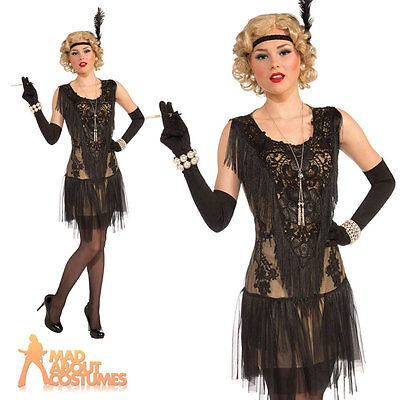 Adult Deluxe Flapper Costume Ladies 1920s Charleston Fancy Dress Outfit New