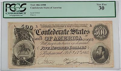 1864 Civil War Confederate States of America $500 Dollar Note T-64 PCGS VF-30