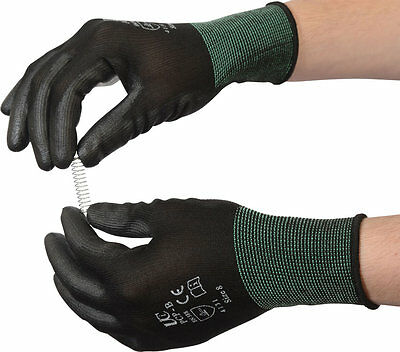 UCI PCP-B Black PU Precise Palm Coated Safety Work Gloves Size 6