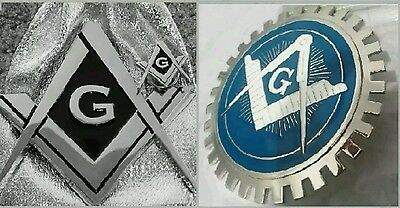 MASONIC CAR GRILL & REAR BADGES 3D CHROME EMBLEM Lot of 2 + Gift LAPEL PIN