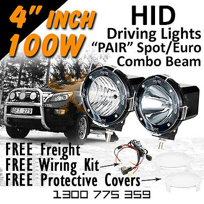 HID Xenon Driving Lights - Pair 4 Inch 100w Spot/Euro Beam 4x4 Offroad 12v 24v