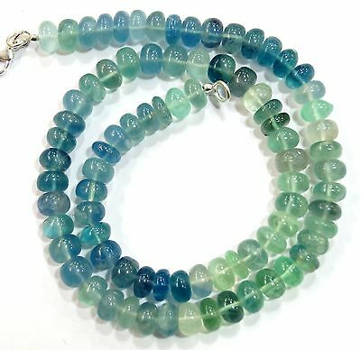 """327Cts. 17"""" 8 Mm Natural Gem Stone Fluorite Big Smooth Rondelle Beads Necklace"""