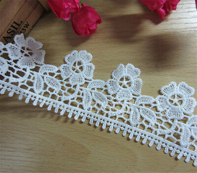 Vintage White Flower Embroidere Lace Edge Trim Wedding Appliques Sewing Craft