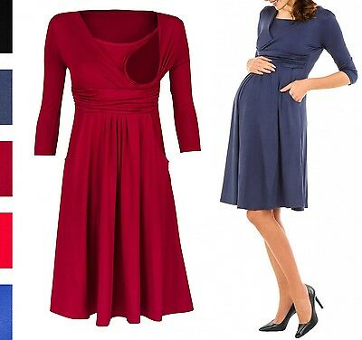 Happy Mama Women's Maternity Nursing 2in1 Skater Dress 3/4 Sleeves Pockets. 848p