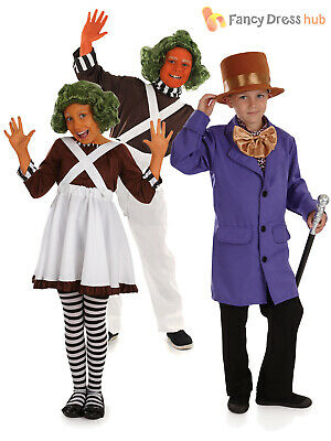 Kids Oompa Loompa Fancy Dress Costume Chocolate Factory World Book Day Boys Girl