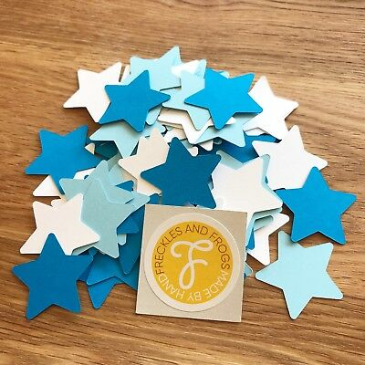 Stars TABLE CONFETTI Blue & White Birthday Party Baby Shower Christening Wedding