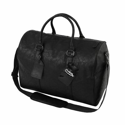 Large Leather Look Sports Gym Travel Holdall Luggage Duffle Weekend Bag Black